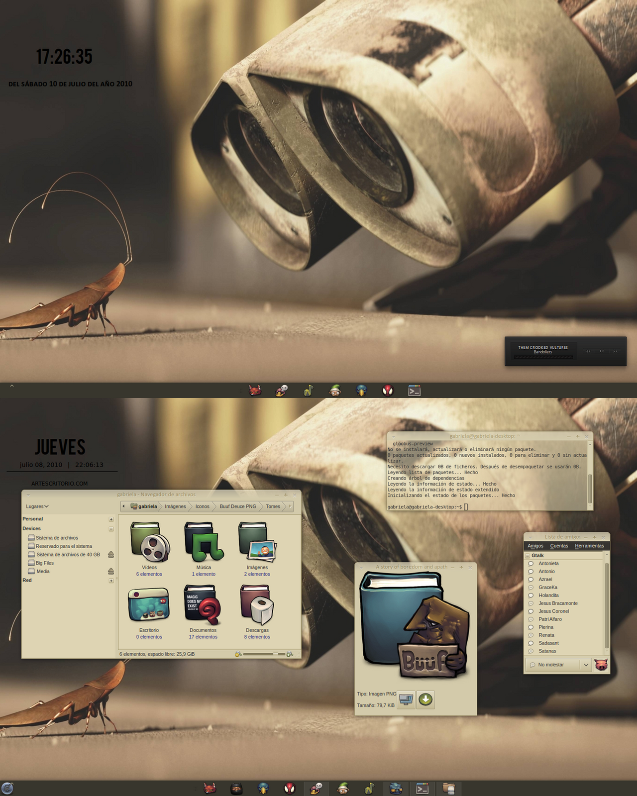 Wall-e and Buuf at Ubuntu by gabriela2400