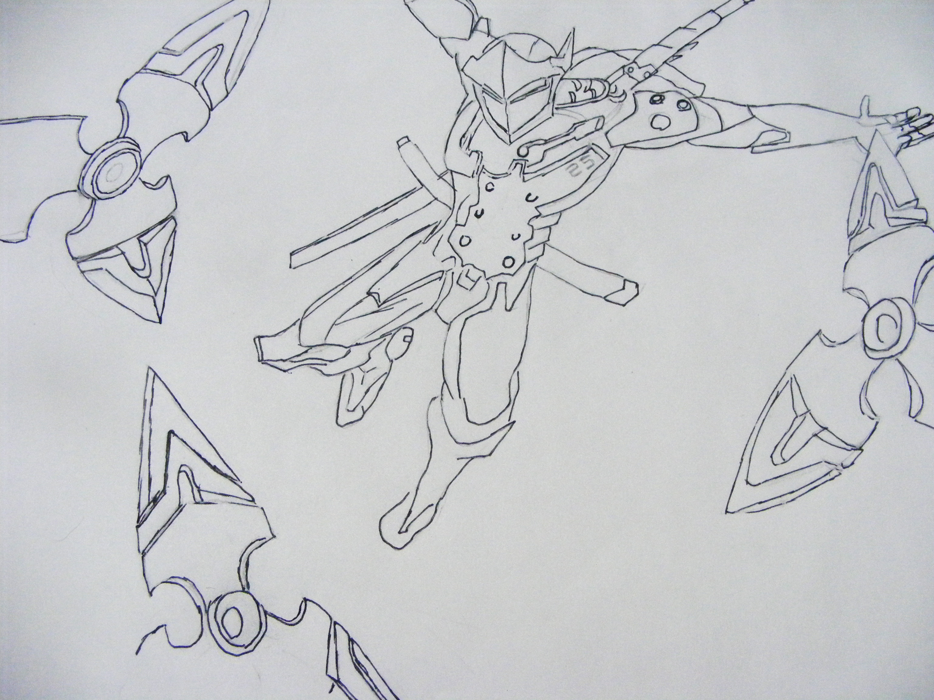 Line Drawing Reddit : Overwatch genji shuriken highlight intro drawing by
