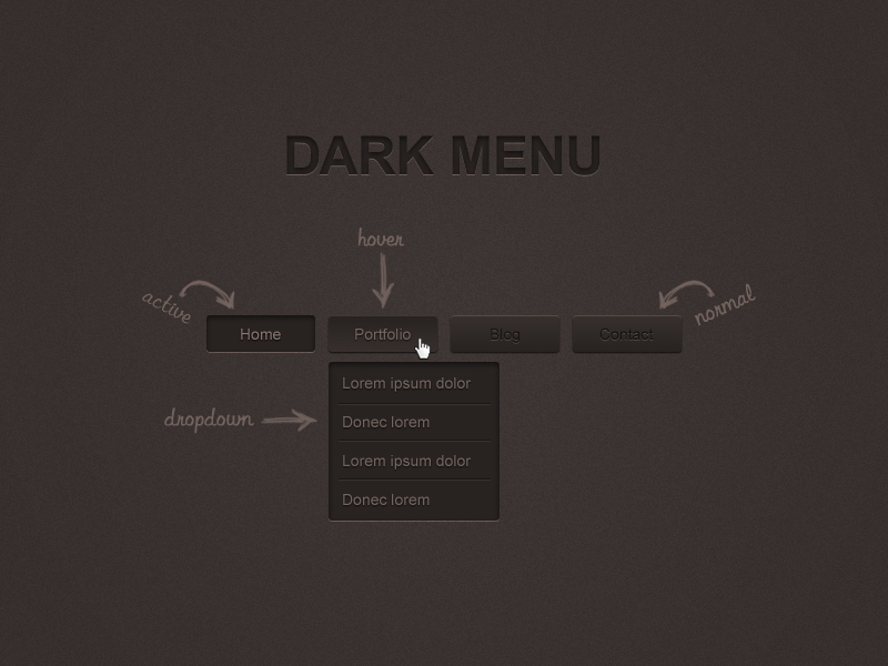 Dark Menu Free PSD by ahmadhania