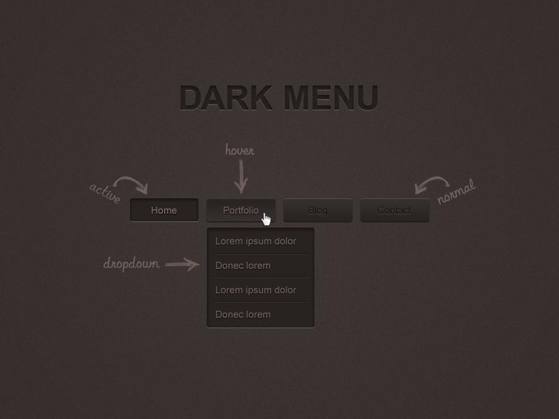 Dark Menu Free PSD