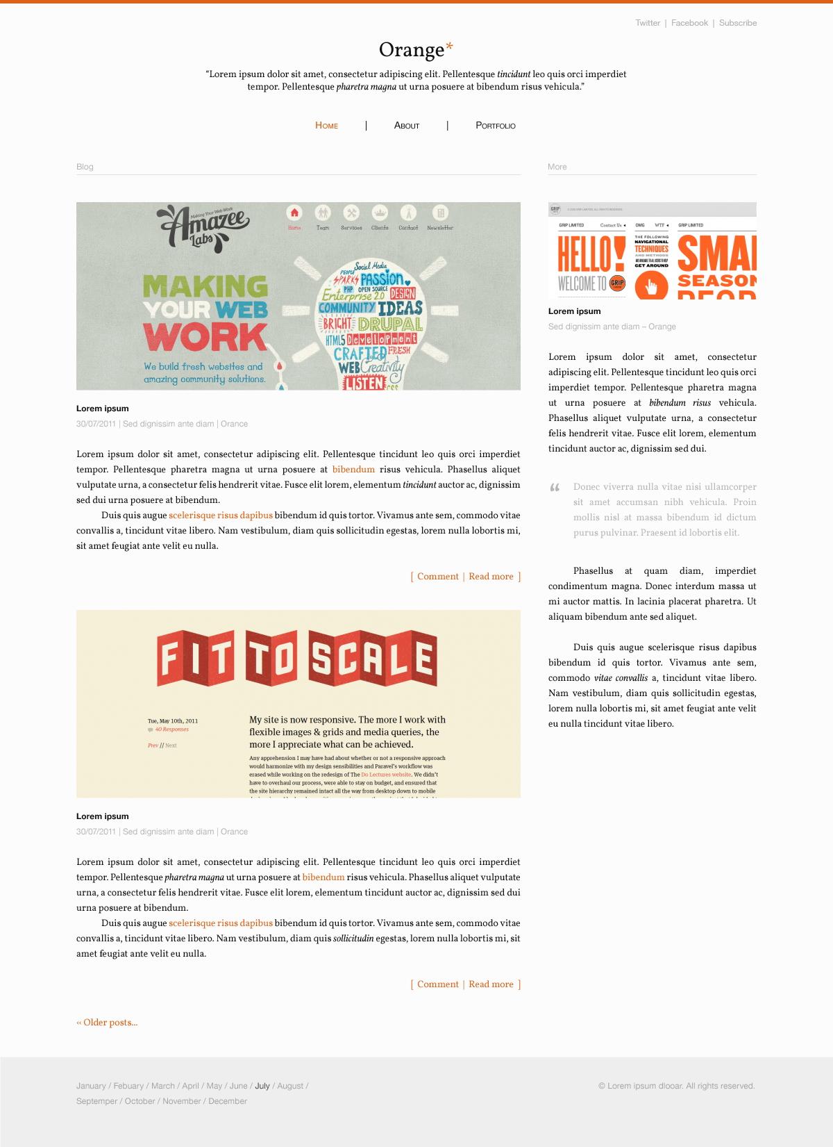 Orange Blog Template Free PSD