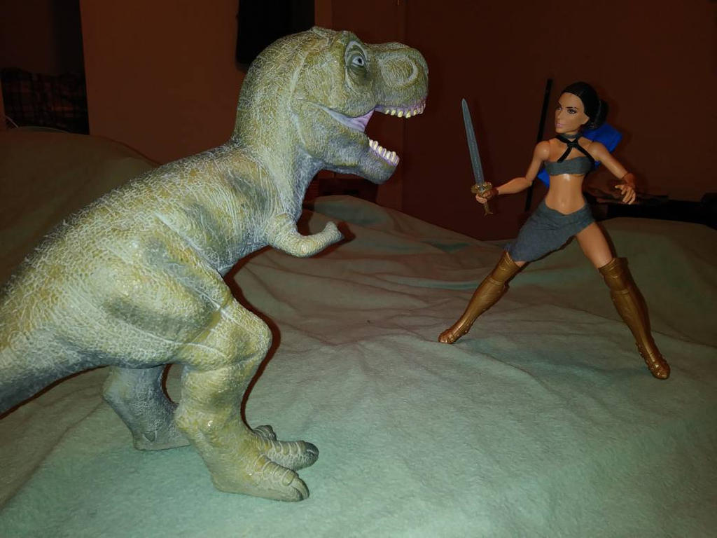 SAVAGE DIANA VS. THE T-REX by Denfenender1980