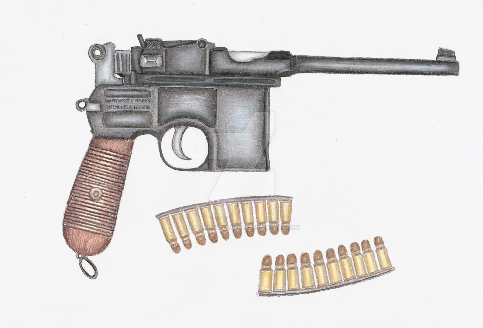 7.63mm Mauser C96 Broomhandle by stopsigndrawer81