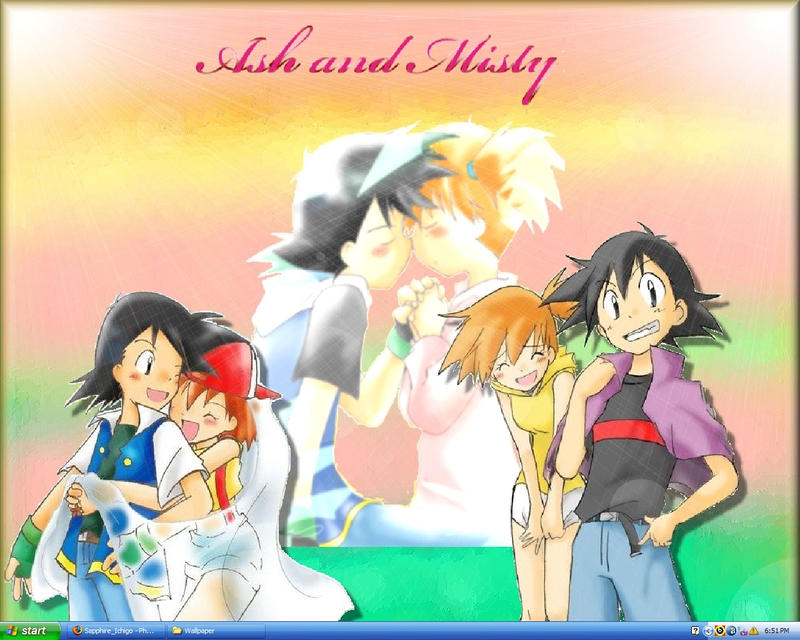 ash and misty kiss the girl № 334739