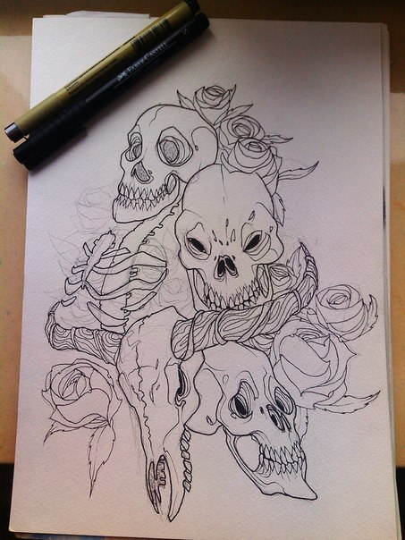 Skulls'n'Roses by SweetMazy