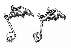 Skull Music Note Tattoo Design
