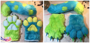 (FOR SALE) Spotted Fursuit Handpaws and Tail Set
