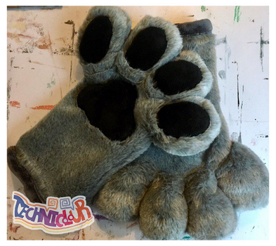 Gray Handpaws With Black Pawpads
