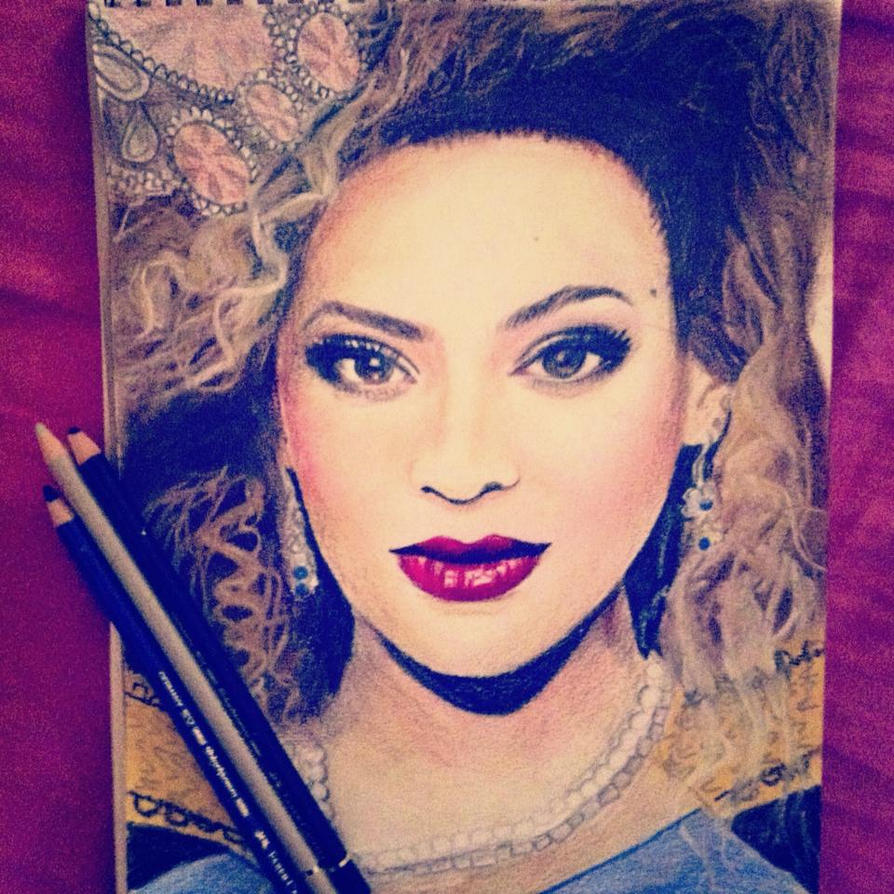 Beyonce drawing in coloured pencils by Shaunaf