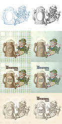 Happy leprechaun and big mug of beer by Inshader