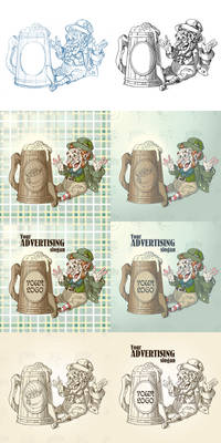 Happy leprechaun and big mug of beer
