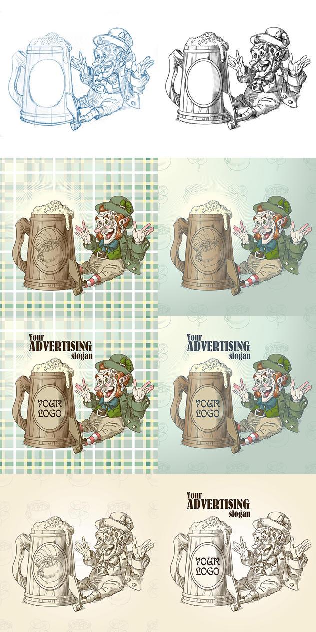 Happy leprechaun and big mug of beer by Inshader