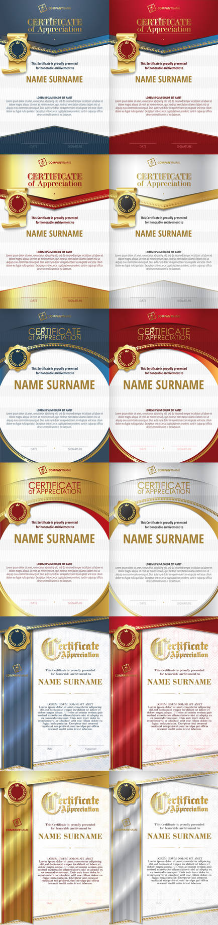 Templates of Certificate of Appreciation. Vector.