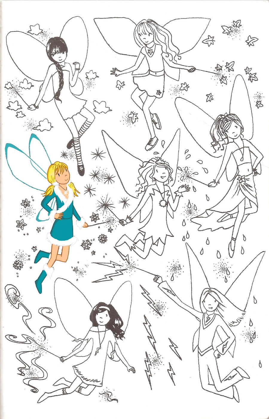 Magic rainbow fairies coloring pages