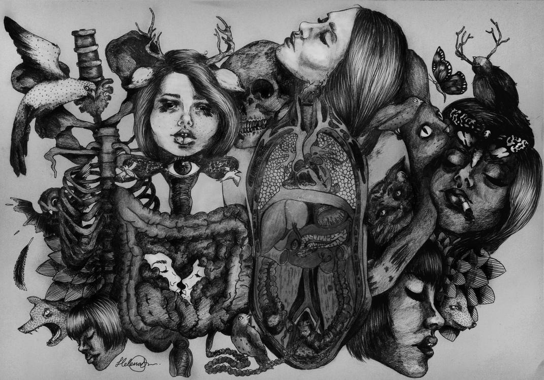 Overthinking (black/white). by Pedobearq