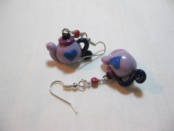 Purple Stone Teapot Earrings by kitcat4056