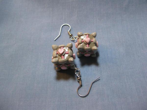 Companion Cube Earrings by kitcat4056
