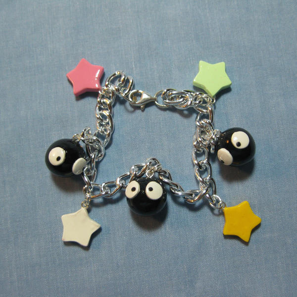 Soot Sprite and Stars Bracelet by okapirose