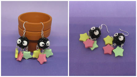 Soot Sprite Earrings (2016) by okapirose