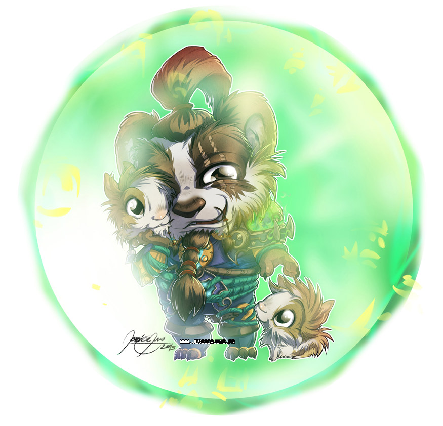 :Commission: Monk Pandaren and rabbits by Miladymorigane