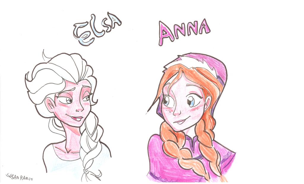 Elsa and Anna by gelfnig