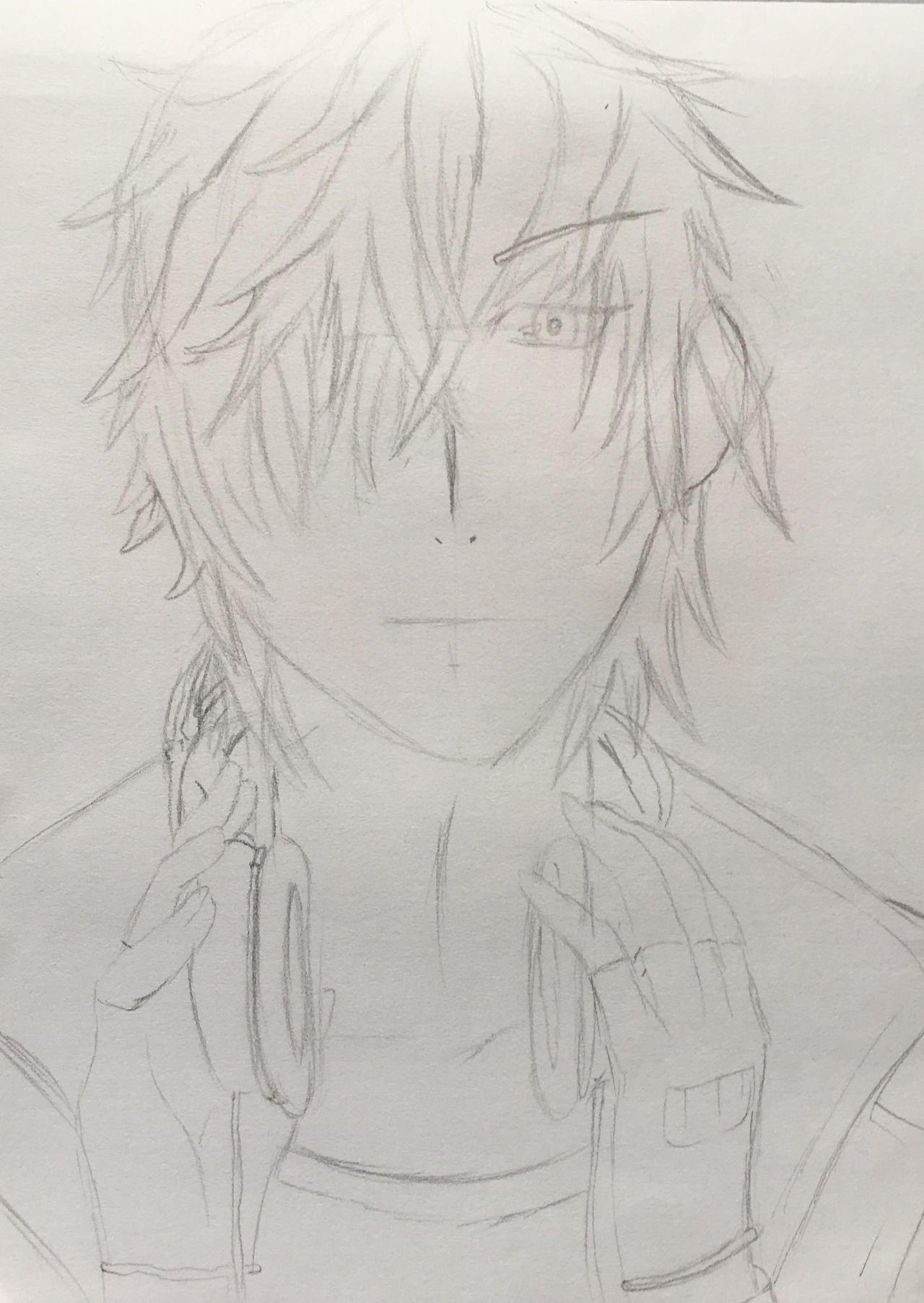 Handsome anime boy with headphones by jexa heinlein on