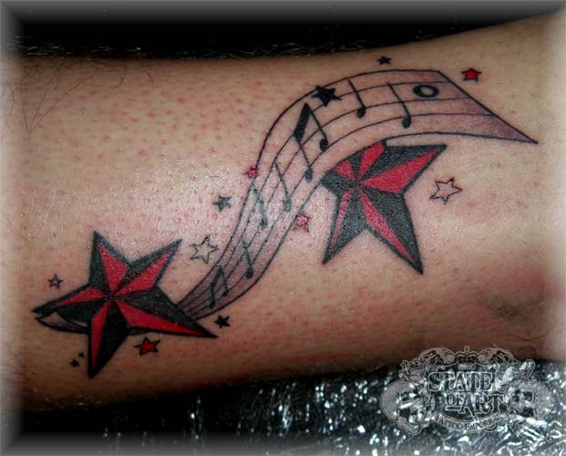 music notes and stars by state of art tattoo on deviantart. Black Bedroom Furniture Sets. Home Design Ideas