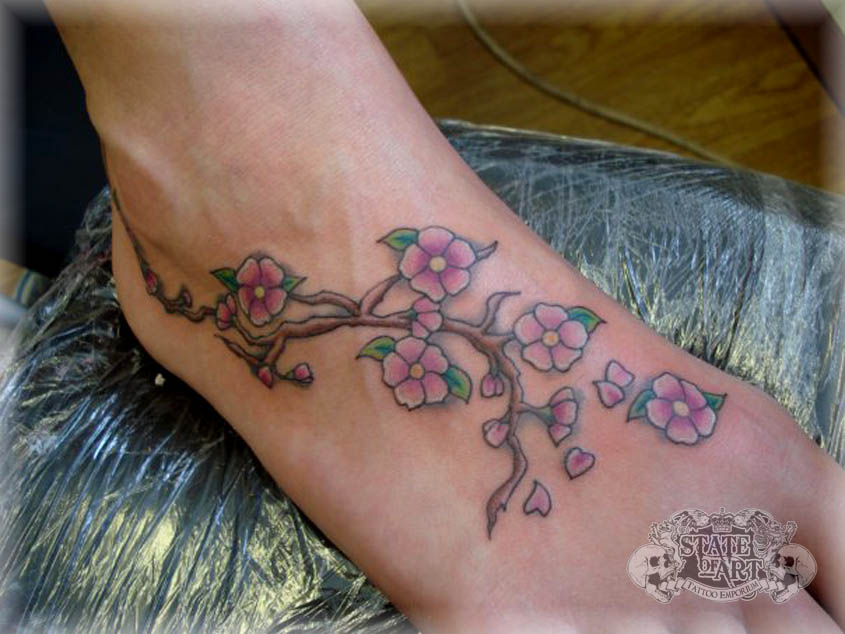 cherry blossom on foot by state of art tattoo on deviantart. Black Bedroom Furniture Sets. Home Design Ideas