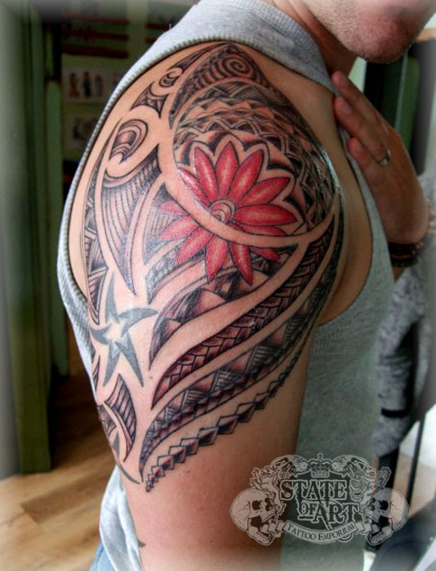 Maori with flower - flower tattoo