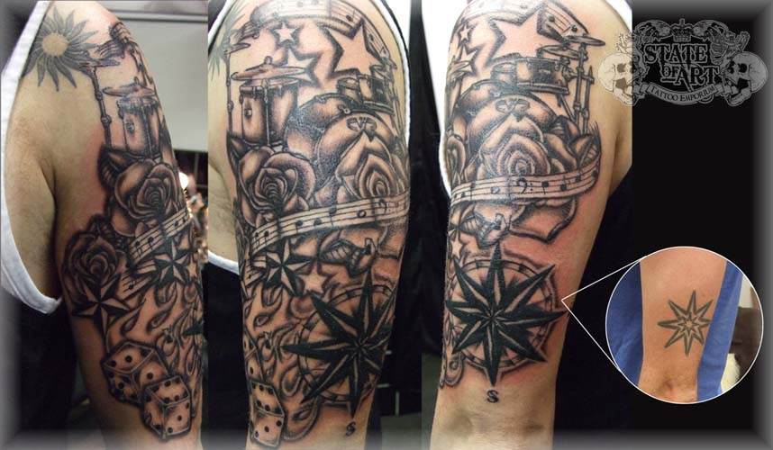 New school tattoo half sleeve designs