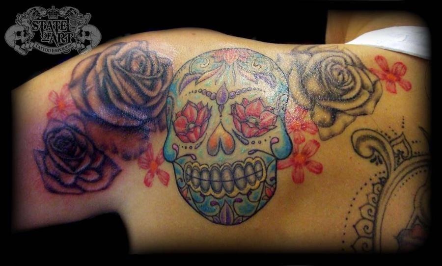 Sugar skull on shoulder by state-of-art-tattoo on DeviantArt