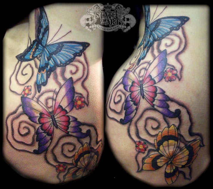 Butterfly back and thigh by state of art tattoo on deviantart for Tattoos on back of thighs