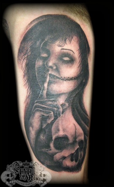 Traditional Zombie Girl Tattoo