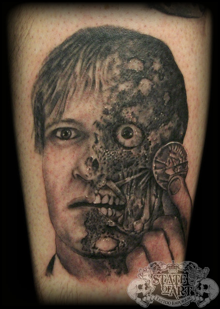 Two face by state of art tattoo on deviantart for Two faced tattoo