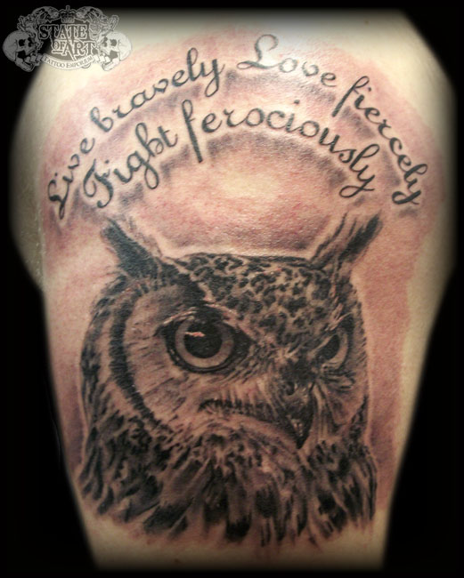 Owl 2 by state of art tattoo on deviantart for State of the art tattoo