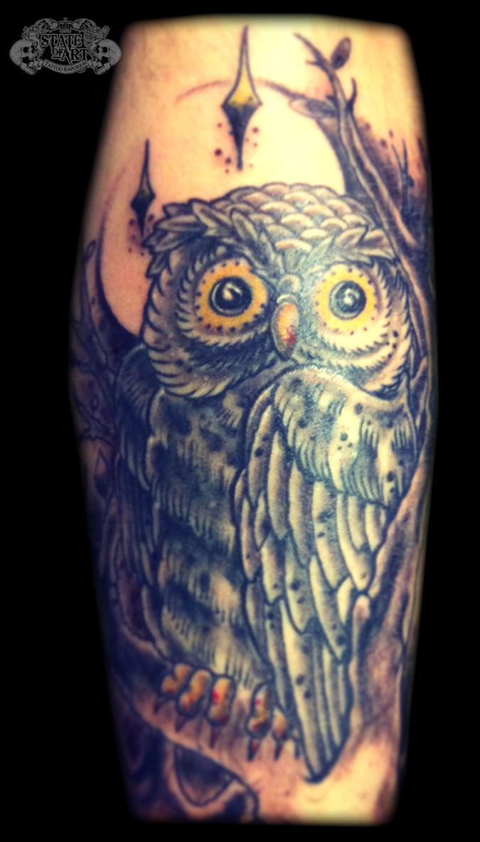 Owl by state of art tattoo on deviantart for State of the art tattoo