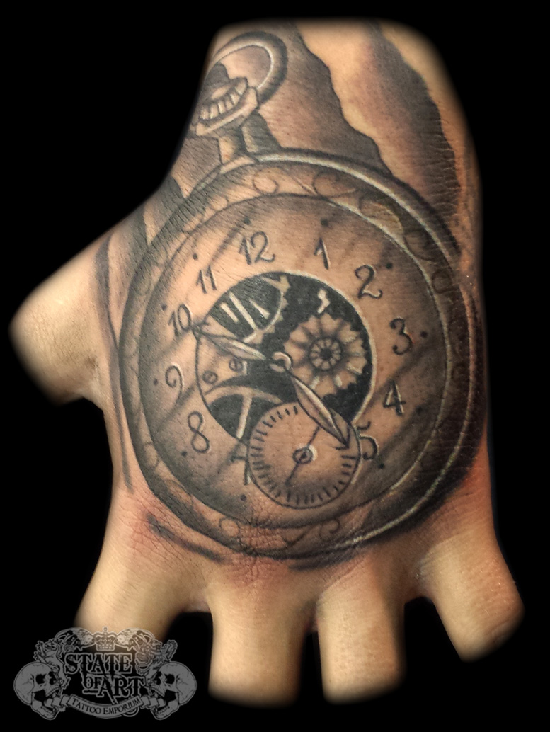 Pocketwatch by state of art tattoo on deviantart for Pocket watch tattoo