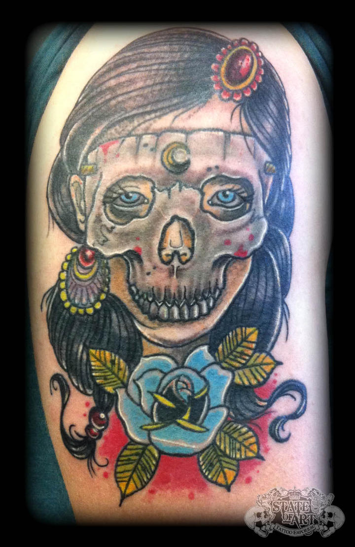 Skull lady by state of art tattoo on deviantart for State of the art tattoo