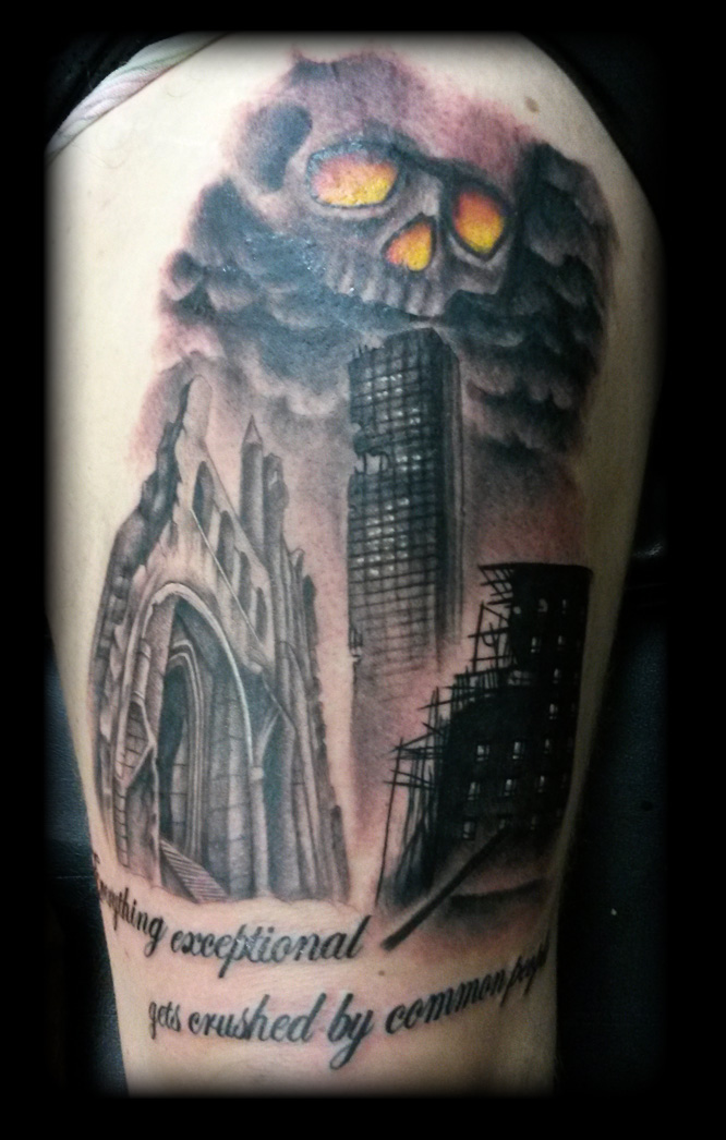 Skull buildings by state-of-art-tattoo