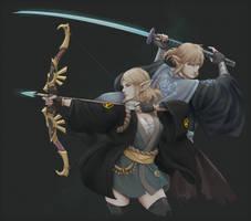 Samurai Zelda and Link