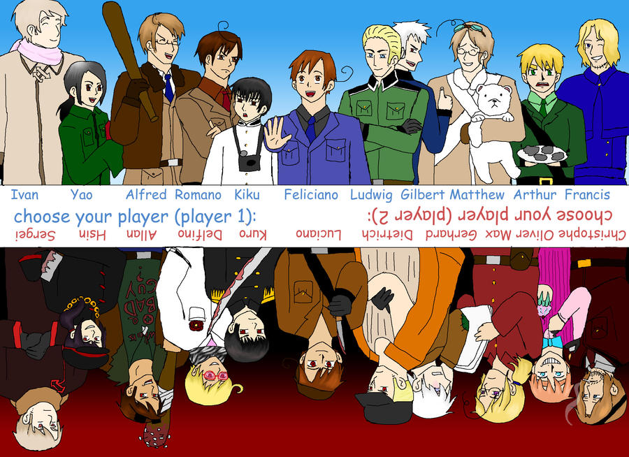 hetalia 1p vs 2p (read the description) by friedfairy