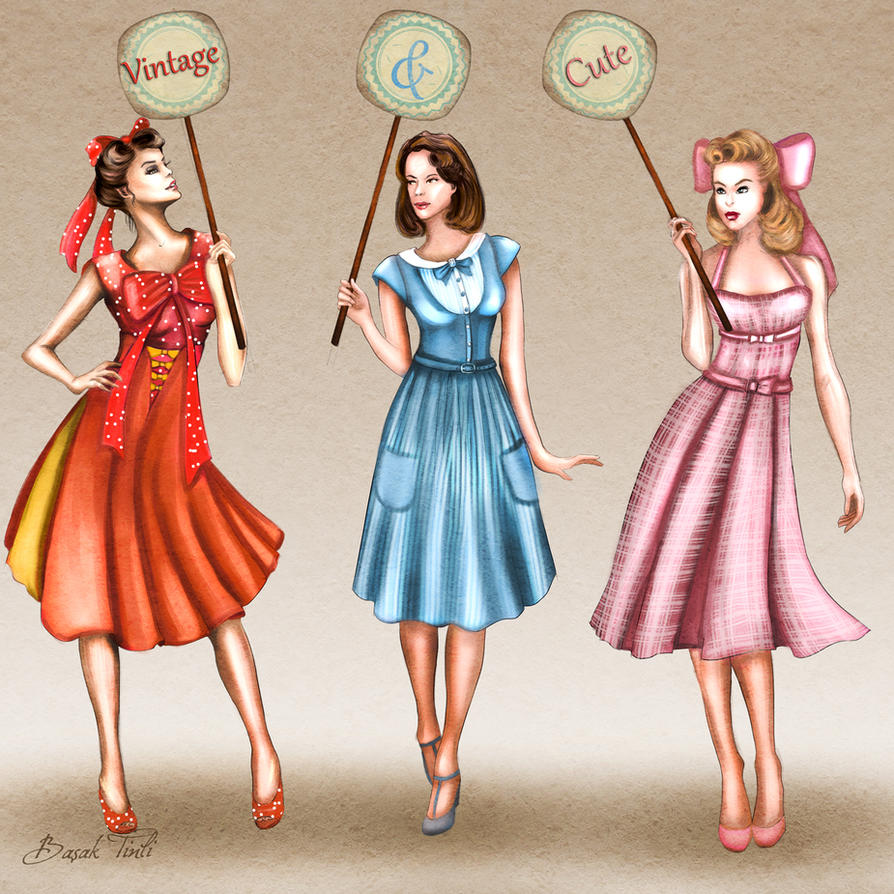 50s Inspired Vintage Dresses Fashion Illustration By