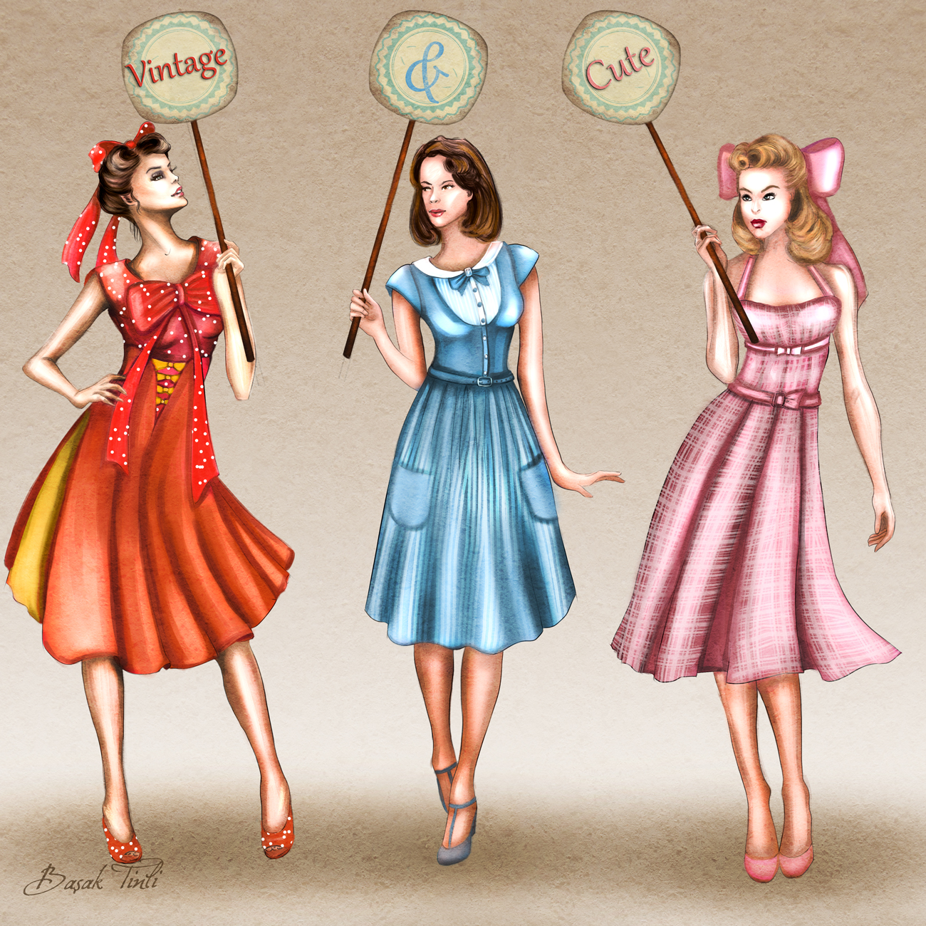 50s Inspired Vintage Dresses Fashion Illustration By Basaktinli On Deviantart