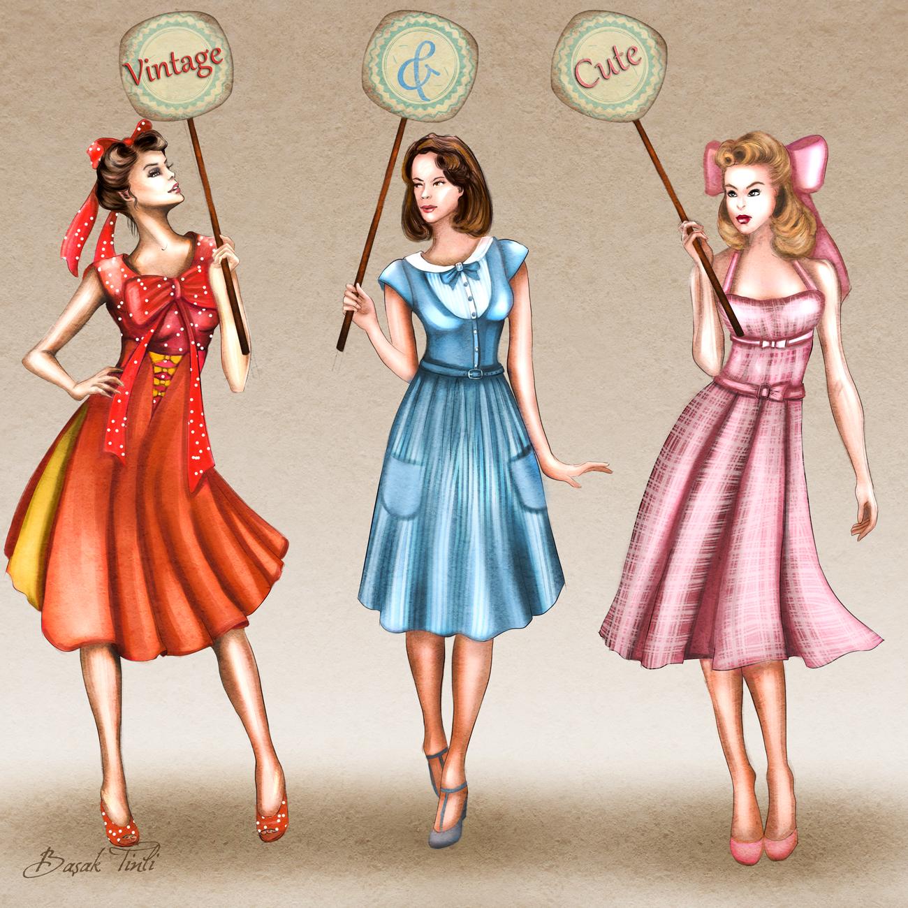 50s inspired vintage dresses fashion illustration by