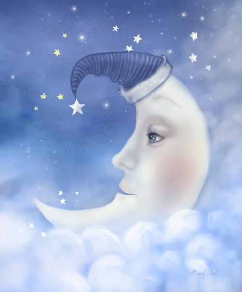 Sleepy Moon And Stars Nursery Wall Decor By Basaktinli On