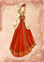 Russian Costume Fashion Illustration by BasakTinli