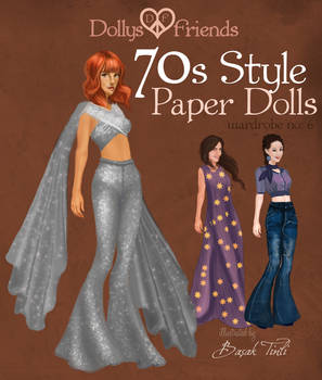 Dollys and Friends 70s Style Fashion Paper Dolls
