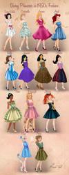 Disney Princesses in 1950s Fashion by Basak Tinli by BasakTinli