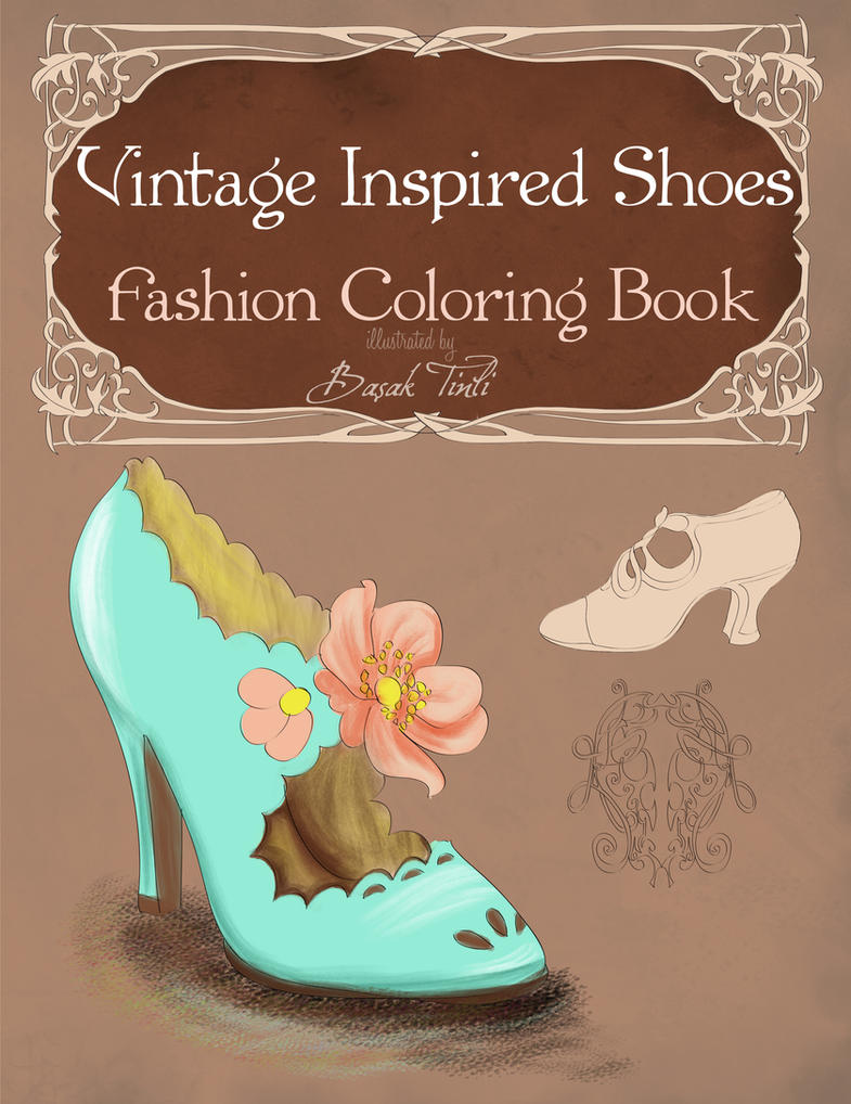 Fashion Book Cover Art ~ Vintage inspired shoes fashion coloring book cover by