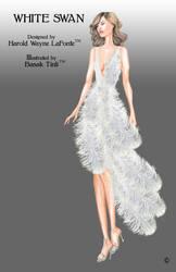 White Feathers Dress Fashion Illustration by BasakTinli